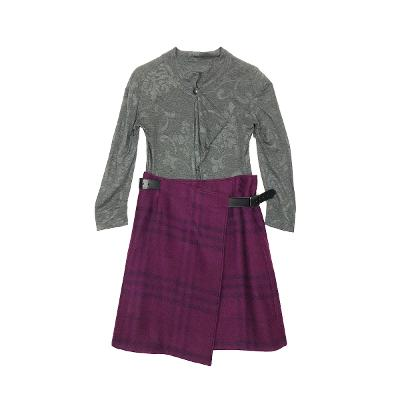 drape button knit & check pattern wrap skirt